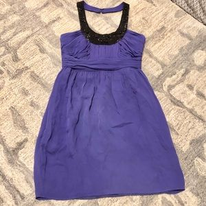 [Shoshanna] Purple Halter Beaded Neck Dress